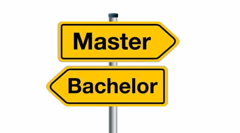 Wegweisende Schilder: Bachelor und Master