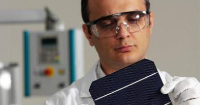 Ingenieur betrachtet eine Photovoltaikzelle
