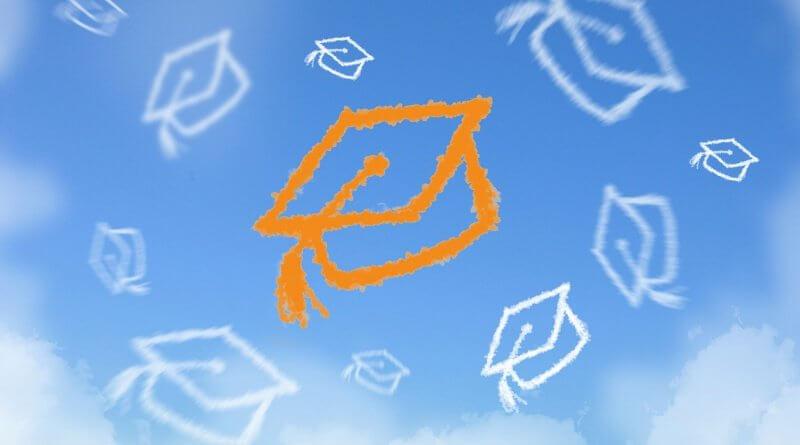 Hochgeworfene, schematische Doktorhüte in Richtung eines blauen Himmels