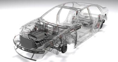 Darstellung einer Auto-Karosserie mit eingesetztem Motorblock