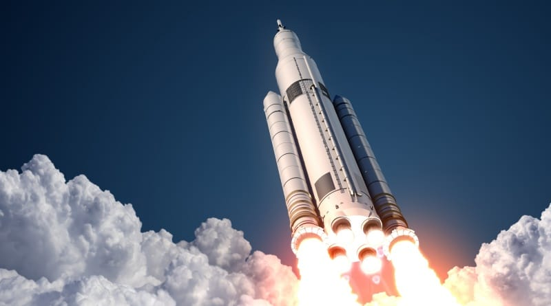 Eine Rakete beim abheben