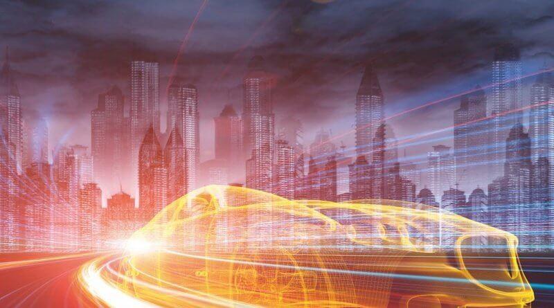 Umrisse eines Sportwagen digital abgebildet. Im Hintergrund die Skyline einer Großstadt