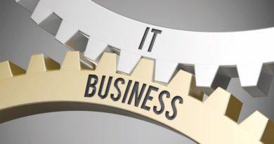 Ein IT-Zahnrad und ein Businesszahnrad, die ineinander greifen