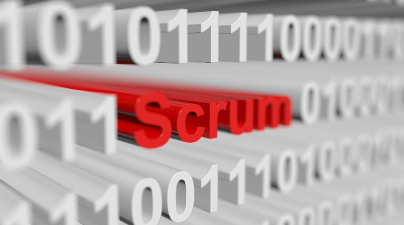 scrum is presented in the form of a binary code with blurred background