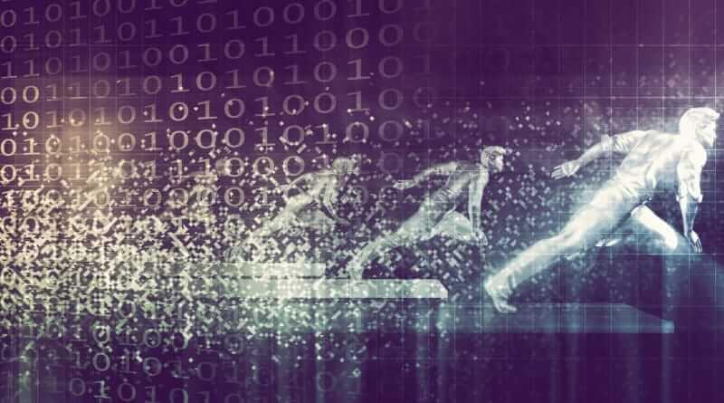 Disruptive Technologien dargestellt in Form eines graphisch dargestellten laufenden Menschen